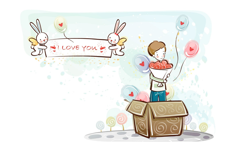 Love Boy And Girl cartoon Wallpaper : ??1440x900????????????,??????????????-????-??????-????