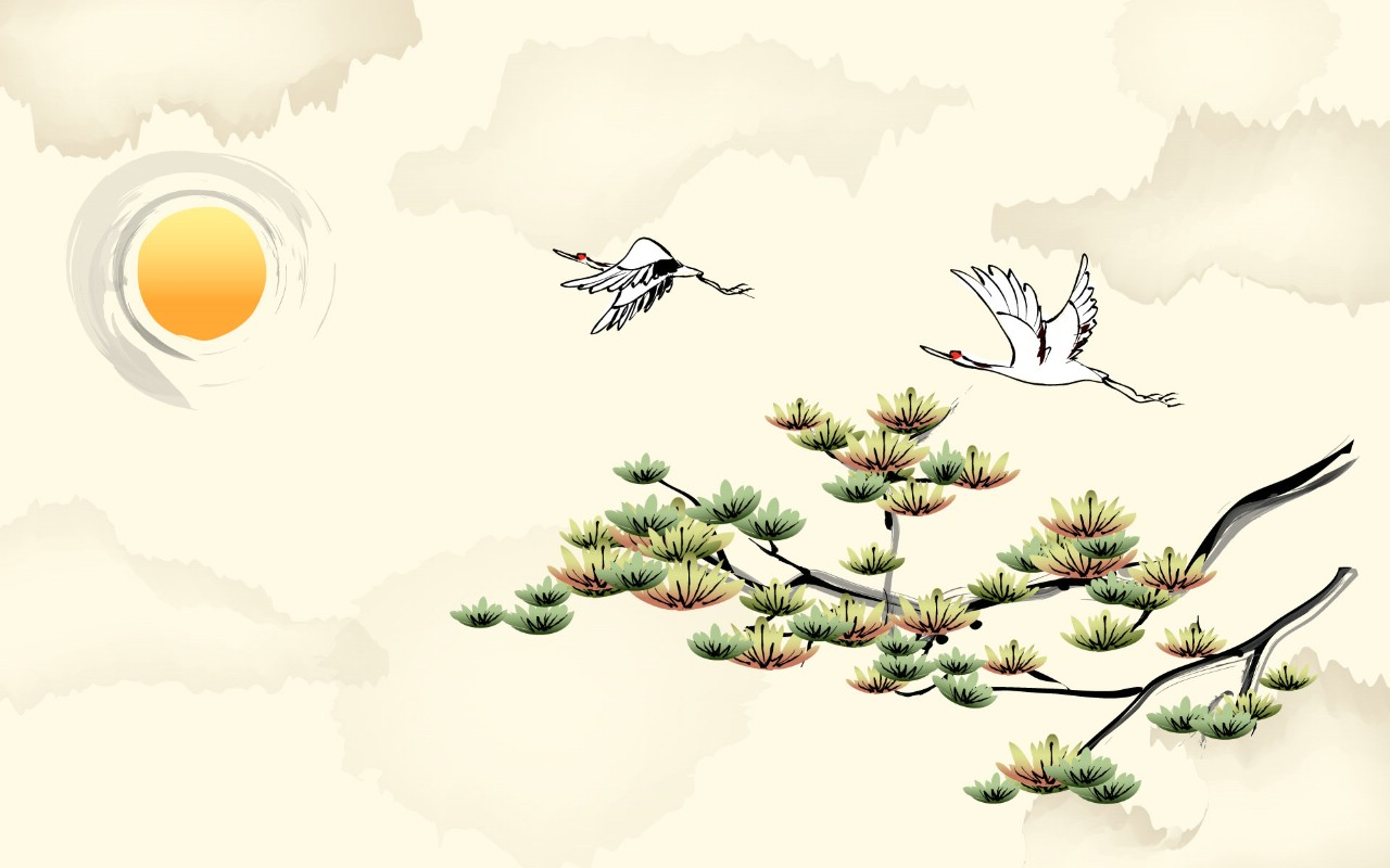 古風水墨畫背景素材,水墨畫橋,淡雅水墨畫背景圖片